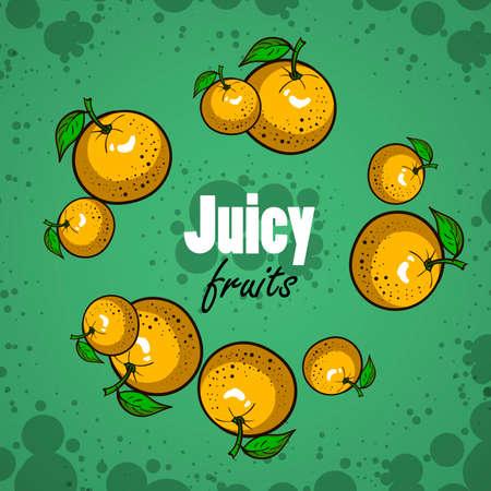 mandarins: Frame made from hand drawn oranges. Vector illustration