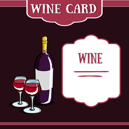 party drinks: Template of a wine card with hand drawn bottle and wineglasses. Vector illustration