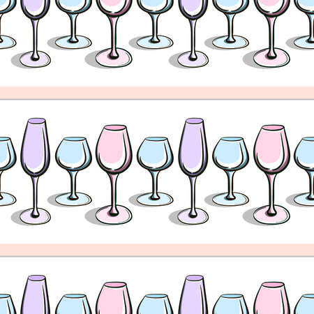 Pattern made from different wineglasses on the white background. Vector illustration. 10 EPS Vector