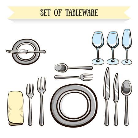 Set de vaisselle dessiné à la main. Vector illustration. 10 EPS