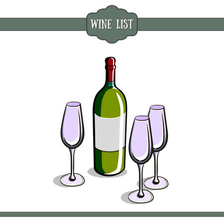 wineglasses: Template of a wine card with hand drawn bottle and wineglasses. Vector illustration
