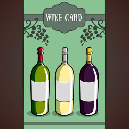 wine card: Template of a wine card with different hand drawn bottles.  Vector illustration