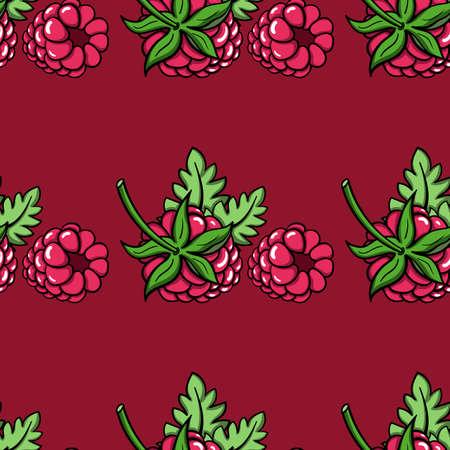raspberries: Pattern made from hand drawn raspberries.