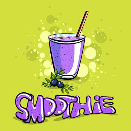 bilberry: Hand drawn bilberry smoothie on the green background. Vector illustration Illustration