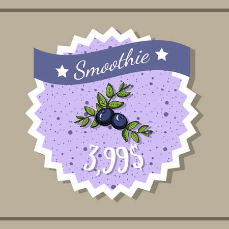 bilberry: Sticker with price of bilberry smoothie with hand drawn berries.