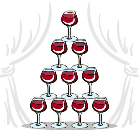 wineglasses: Pyramid of wineglasses with red wine. Vector illustration for your design Illustration