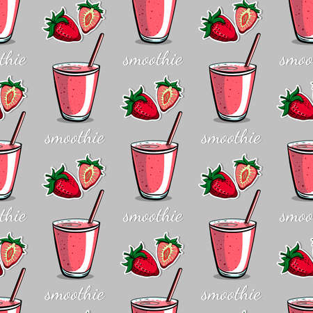 blended: Bright pattern made from hand drawn cocktails and berries. Vector illustration