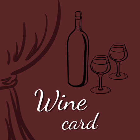 drapes: Wine card with silhouettes of bottle of wine, wineglasses and drapes. Illustration
