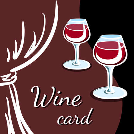 drapes: Wine card with silhouette of drapes and wineglasses with red wine. Vector illustration