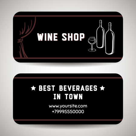 business it: Card template with hand drawn elements. You can use it for design of  wine party invitation or business cards for wine shop. Vector illustration Illustration