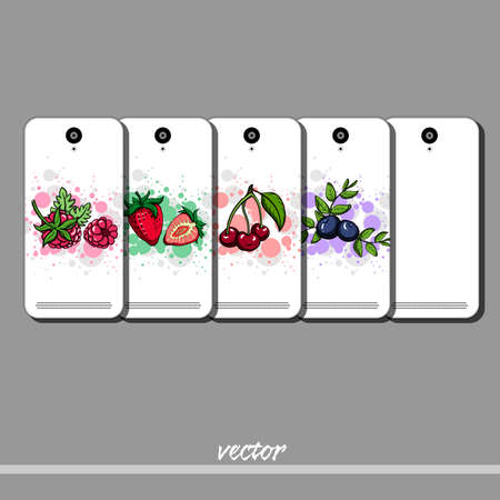 brigth: Set of phone covers with different berries. Vector illustration