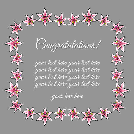 congratulatory: Congratulatory postcard with pink lilies on the gray background. Vector illustration