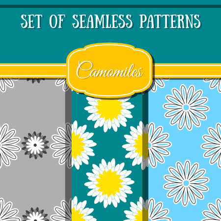 camomiles: Set of seamless patterns made from different camomiles. Vector illustration