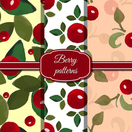 red berries: Set of watercolor seamless patterns made from red berries and green leafs. Illustration