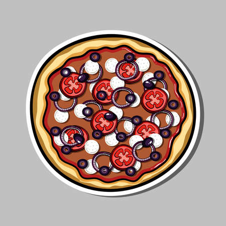 Bright sticker with hand drawn pizza. Vector illustration. Can be used for restaurants, websites, cafes, bars, shops and pizzerias. Çizim