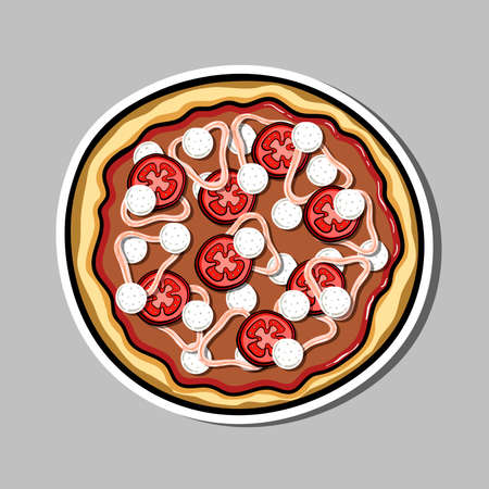 anchovy: Bright sticker with hand drawn pizza. Vector illustration. Can be used for restaurants, websites, cafes, bars, shops and pizzerias. Illustration