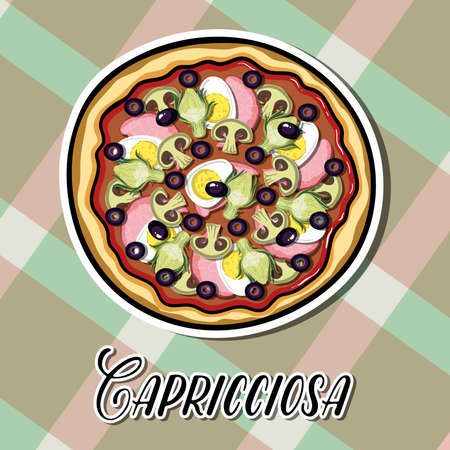 pizzeria label design: Bright sticker with hand drawn pizza. Vector illustration. Can be used for restaurants, websites, cafes, bars, shops and pizzerias. Illustration