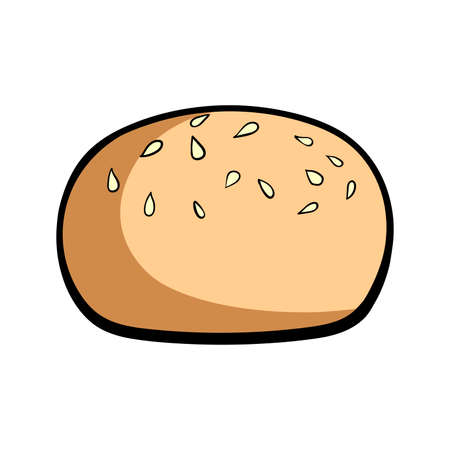 patty: Hand drawn bun with sesame on the white background. Vector illustration. Illustration