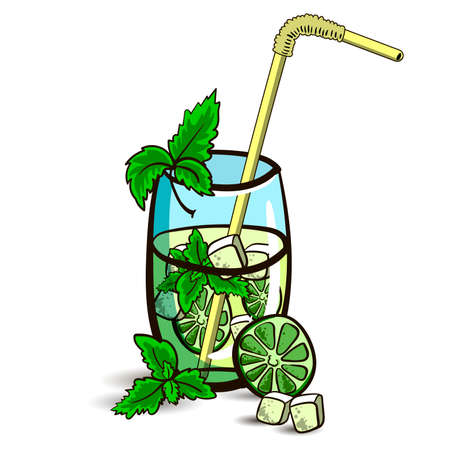 mohito: Hand drawn cocktail - mojito with mint and lime on the white background. Vector illustration