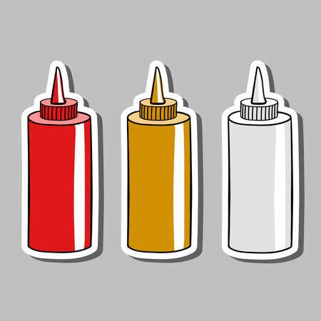 envases plasticos: Pegatinas con botellas dibujadas a mano con diferentes salsas. ilustración vectorial