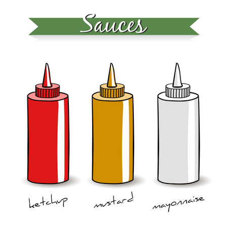 sauces: Hand drawn bottles with different sauces on the white background. Vector illustration