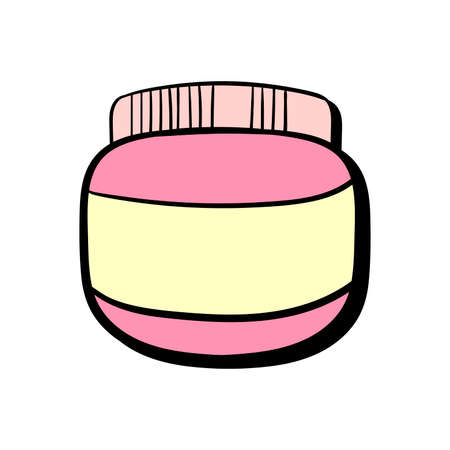 hair mask: Hand drawn pink cosmetic cream on the white background. Vector illustration.