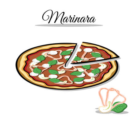 anchovy: Hand drawn pizza with ingredients on the white background. Vector illustration.