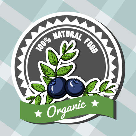 Isolated bright label with hand drawn blueberry. Vector illustration.
