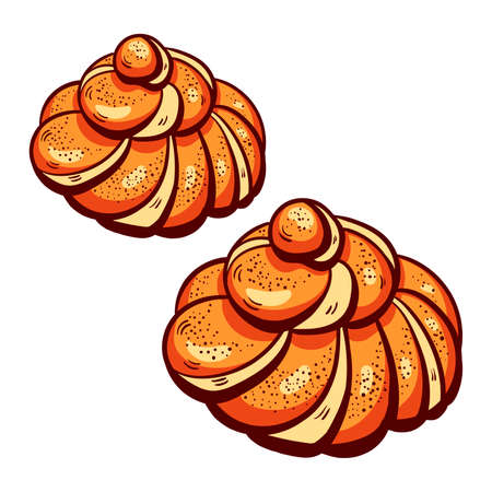 buns: Hand drawn buns on the white background. Vector illustration. Illustration