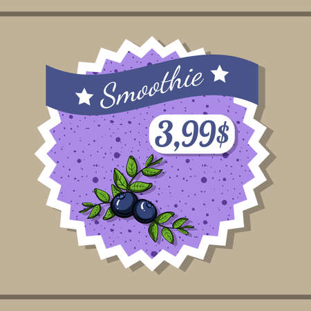 blended: Sticker with price of blueberry smoothie with hand drawn berries. Illustration