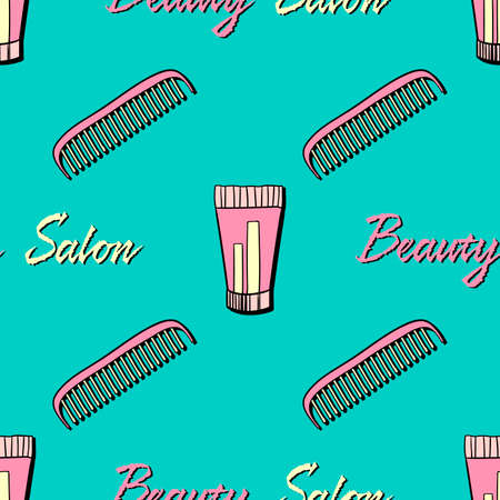haircutter: Seamless pattern made from hand drawn elements. Vector illustration.