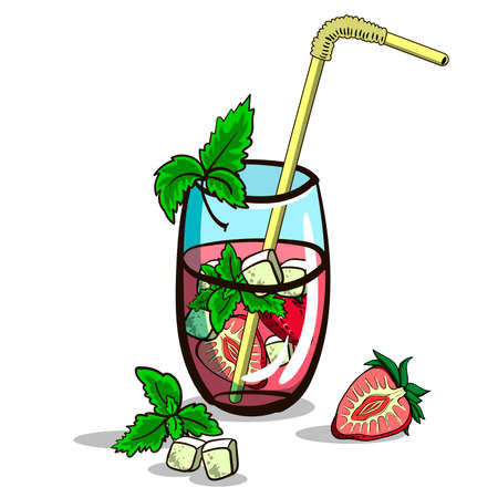 mohito: Hand drawn cocktail - mojito with mint and strawberry on the white background. Vector illustration