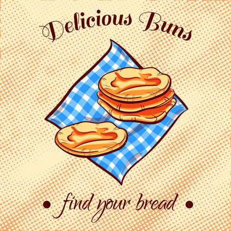 bread shop: Hand drawn pitas on a blue napkin. illustration for bakery or bread shop.