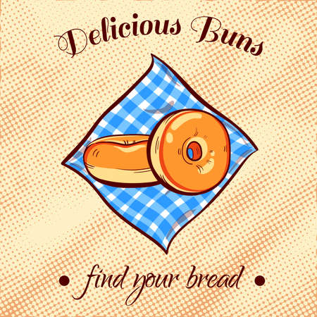 bread shop: Hand drawn bread on a blue napkin. illustration for bakery or bread shop.