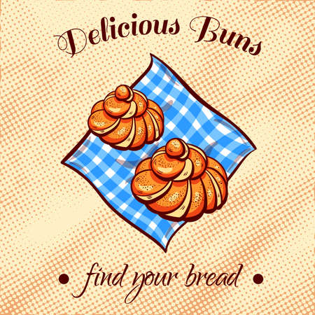 bread shop: Hand drawn buns on a blue napkin. illustration for bakery or bread shop.