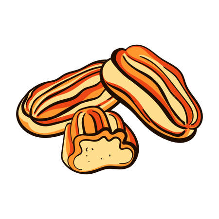 Hand drawn eclairs on the white background.