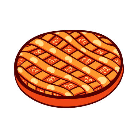 bread shop: Hand drawn pie on a white background. illustration for bakery or bread shop.