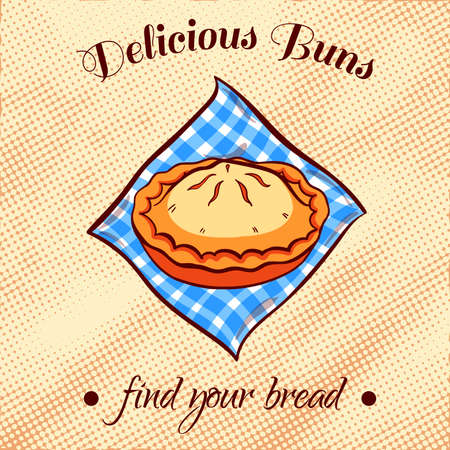 cherry pie: Hand drawn pie on a blue napkin. illustration for bakery or bread shop.
