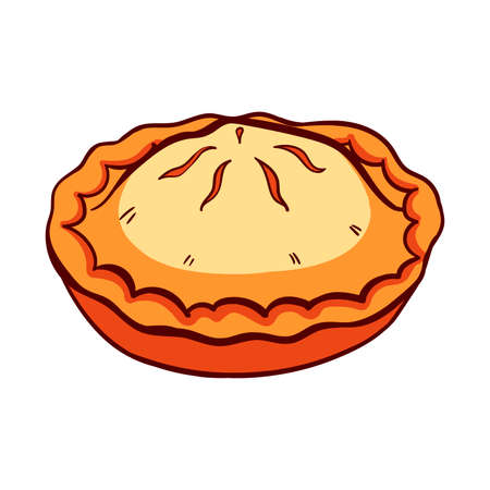 apple cinnamon: Hand drawn pie on a white background. Vector illustration for bakery or bread shop.