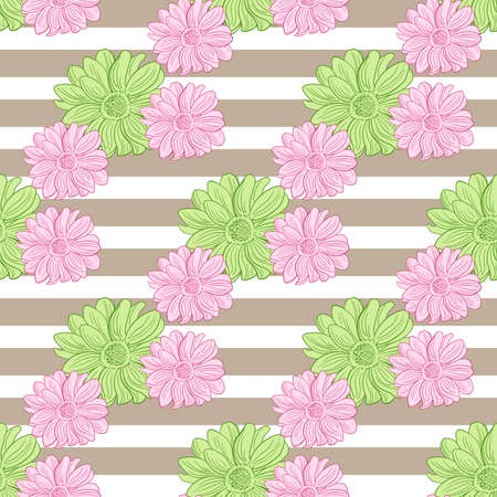 camomiles: Seamless pattern made from hand drawn camomiles and white stripes. Vector illustration.