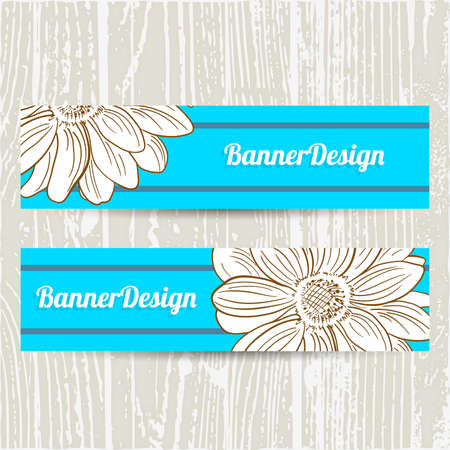 Blue banners with hand drawn camomile. Vector illustration. Illustration