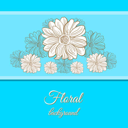 camomiles: Floral background with hand drawn camomiles. Vector illustration.