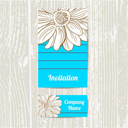 camomiles: Invitation and business card with hand drawn camomiles. Vector illustration.