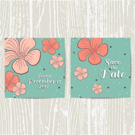wedding table decor: Set of invitations for wedding with hand drawn flowers. Vector illustration.