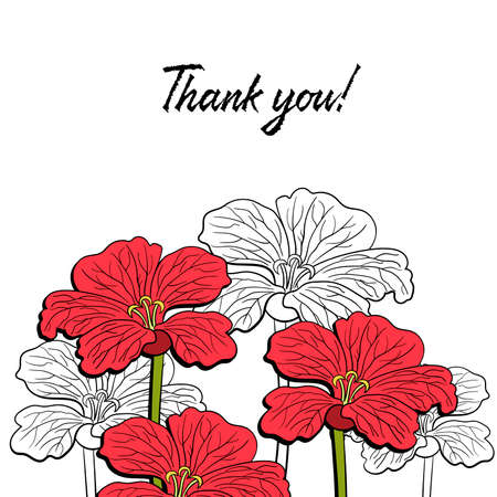 wedding table decor: White postcard with hand drawn red flowers. Vector illustration.