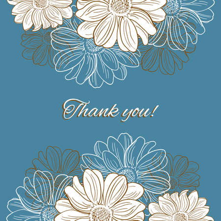camomiles: Blue postcard with hand drawn camomiles. Vector illustration.