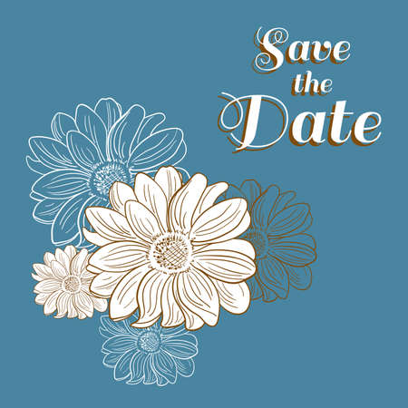 camomiles: Invitation for wedding with hand drawn camomiles. Vector illustration. Illustration