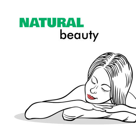 body massage: Hand drawn beautiful young girl on the white background. Vector illustration.