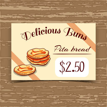 pita bread: Price tag for bakery or cafe with hand drawn bread. Vector illustration. Illustration