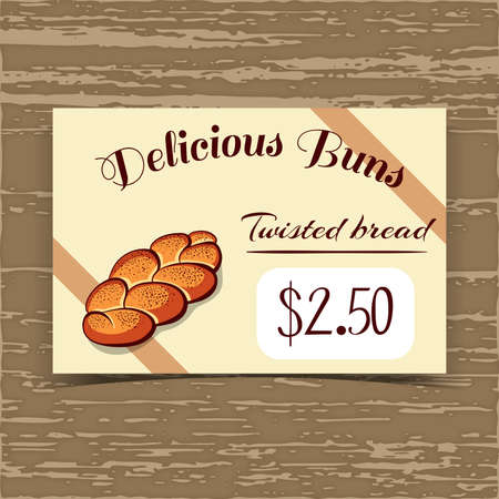 bake sale sign: Price tag for bakery or cafe with hand drawn bun. Vector illustration.